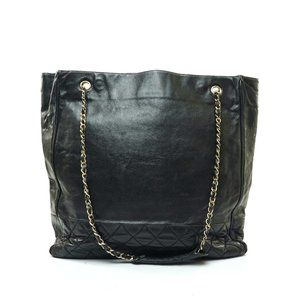 Auth Chanel Tote Bag Black Leather #7818C52